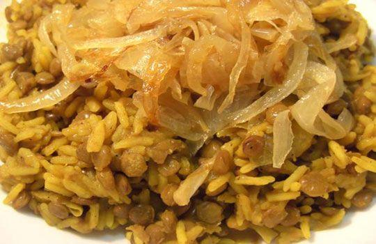 الارز والعدس مع البصل  - طبق مصري