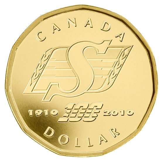 Royal Canadian Mint CFL Saskatchewan Roughriders 100th Year Commemoration Coin. 1910- 2010 - It's out there... check your change!