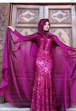 Meerjungfrau Hoher Kragen Lange Ärmel Rose Rot Mit Hijab Stickerei Bodenlangen Long Sleeve Abendkleid Dubai Kaftan Kleid //Price: $US $147.00 & FREE Shipping //     #abendkleider
