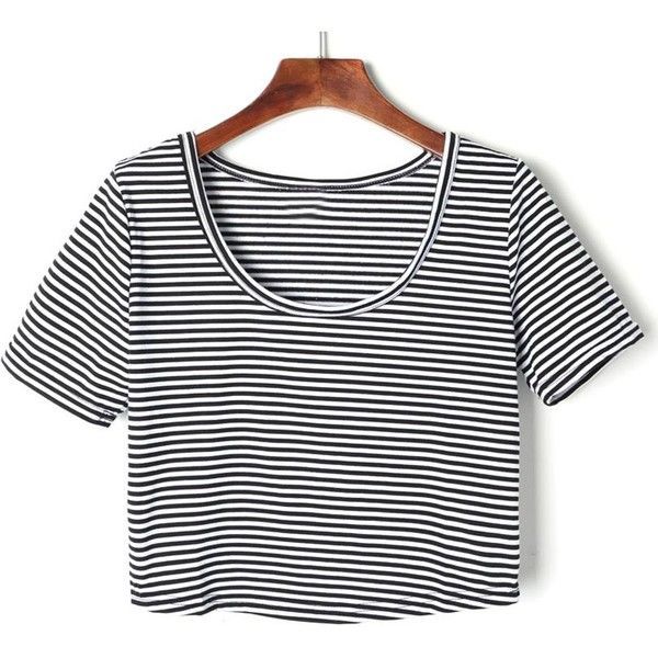 Black And White Striped Short Sleeve Crop T-shirt ($21) ❤ liked on Polyvore featuring tops, t-shirts, cotton t shirt, black white striped t shirt, cotton tee, crop tee and stripe tee