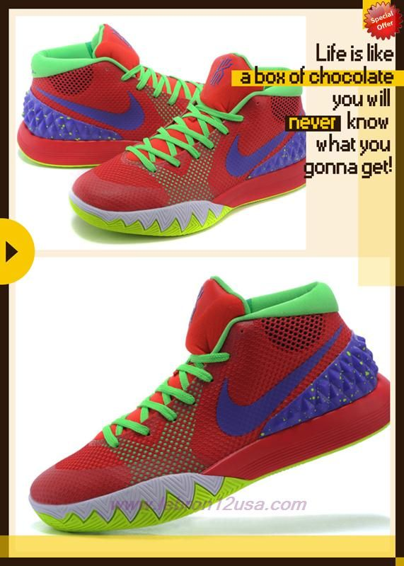 Discount Shoes Online Red/Fluorescent Green/Purple 705277-416 Nike Kyrie 1 Mens