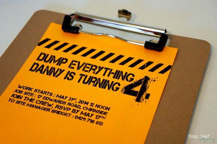 Dump Everything. Danny is Turning 4! Construction party invite, design by Four leaf Styling