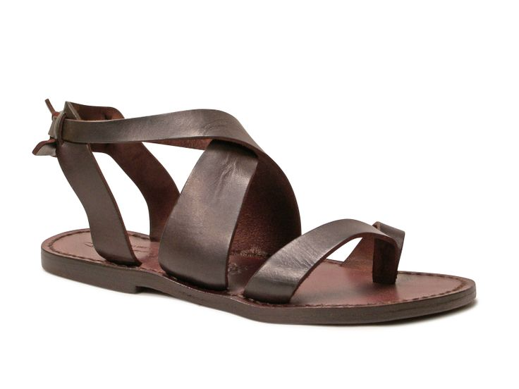 Women sandals in Dark Brown Leather handmade in Italy - Italian Boutique €69