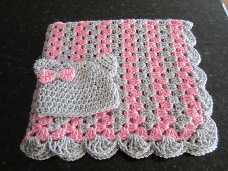 Pink And Gray Crochet Baby Blanket Baby Girl Blanket Set Crochet