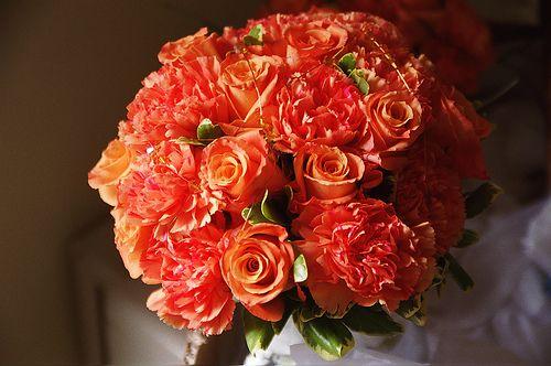 sunset orange rose & carnation bouquet