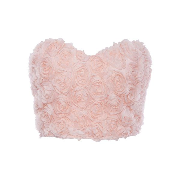 ROMWE Faux Roses Embellished Pink Bandeau ($18) ❤ liked on Polyvore featuring tops, crop tops, shirts, bralet, bandeau tops, pink shirt, bralet crop top, shirt crop top and bralette tops