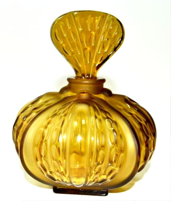 Lalique Olive Green Mirabel Crystal Perfume Flacon Bottle