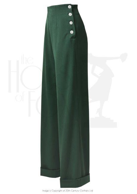 1940s Swing Pants - High Waist - Racing Green £65.00 AT Vintagedancer.com