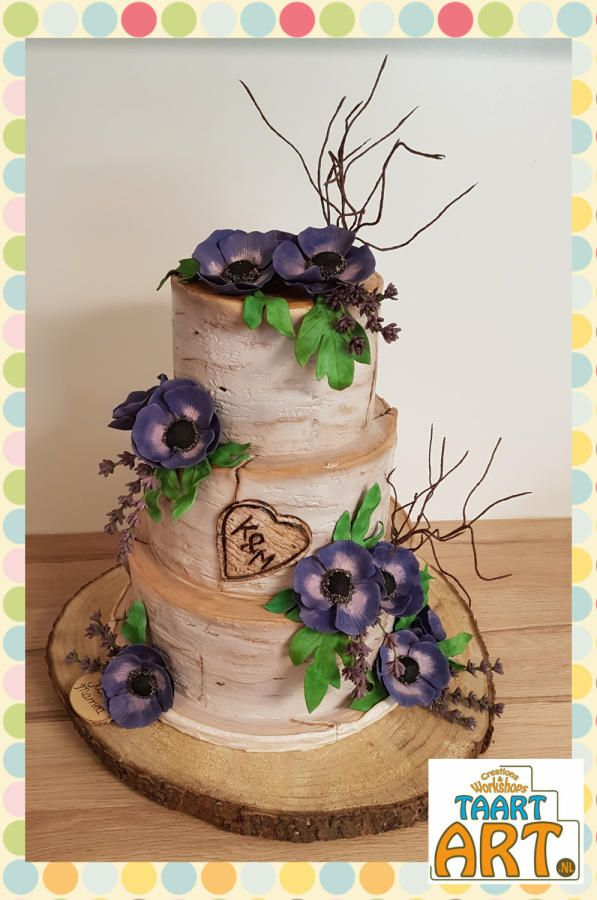 Birch weddingcake by Taart-Art  Jolanda van Ruiten - http://cakesdecor.com/cakes/280920-birch-weddingcake