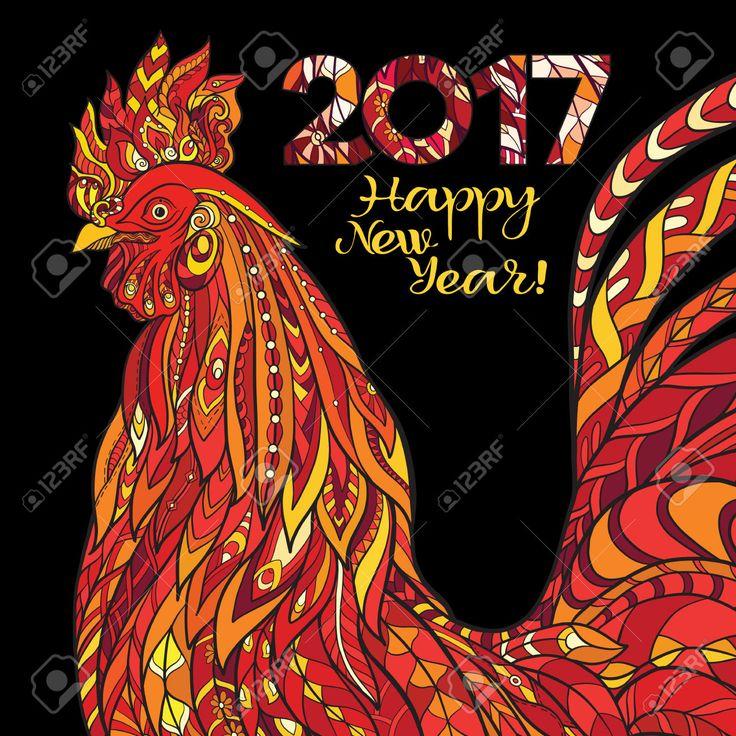 Декоративные цвета Петух. Китайский Новый год Символ 2017 Новый год. Клипарты, векторы, и Набор Иллюстраций Без Оплаты Отчислений. Image 63601692.
