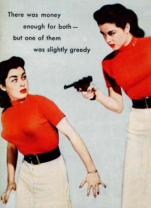 ... and the other one was smuggling ice cream cones in her sweater. {The Spitting Image by Michael Avallone, 1954}