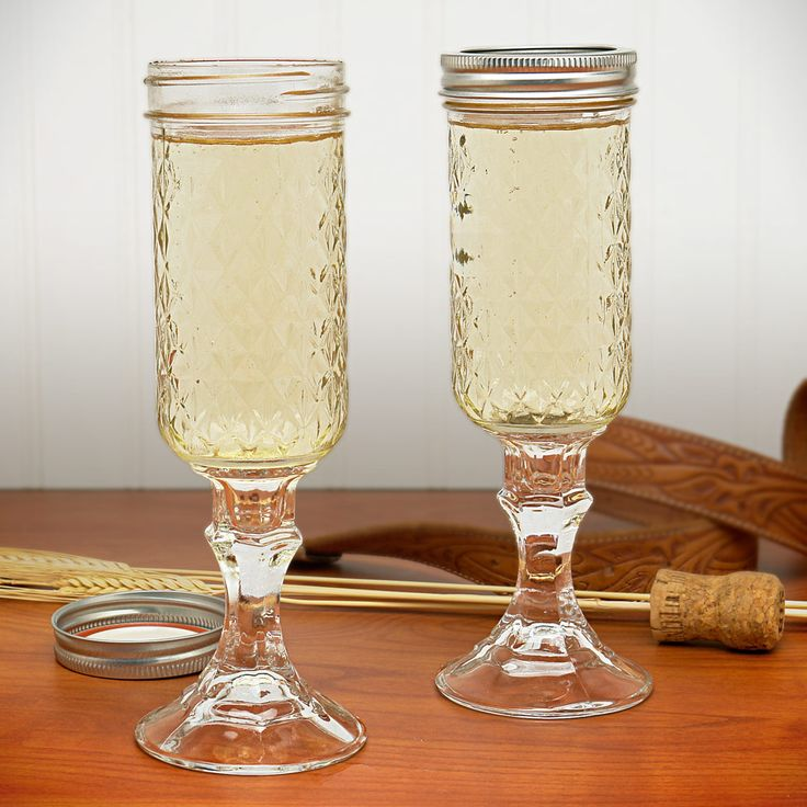 Redneck Mason Jar Champagne Glass Set Details: Love these!