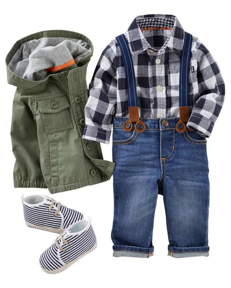 Keep his style in check with a plaid button-front under on-trend olive and suspender pants. Colorful socks and slip-on shoes keep him on his toes!