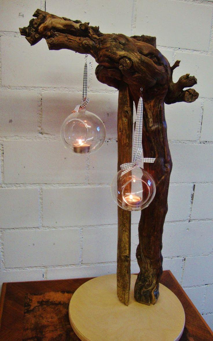 Windlichter Am Rebstock Wanddekoration Holz Weinrebe