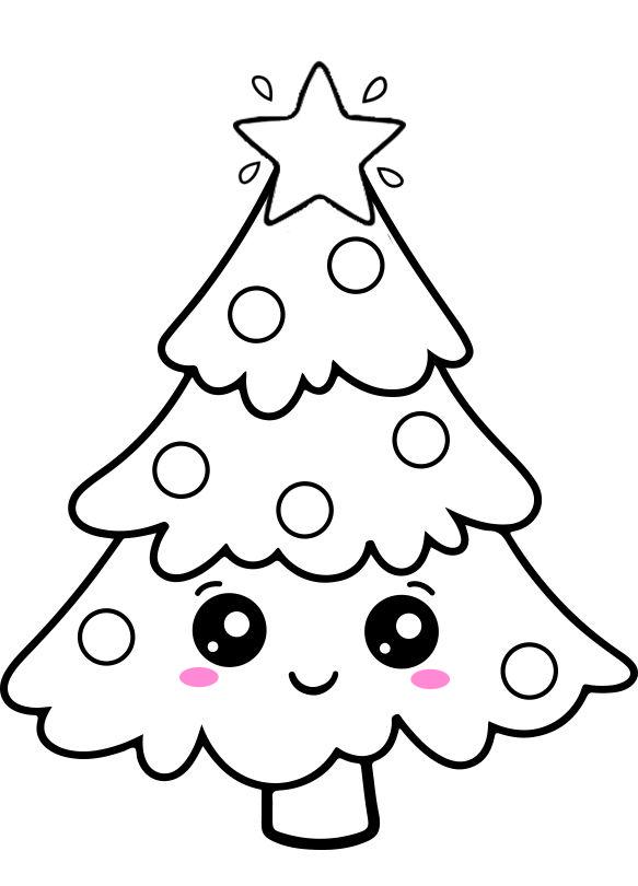 Cute Kawaii Christmas Tree Coloring Plate Christmas Tree Drawing Kawaii Christmas Christmas Drawing