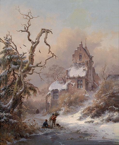Afbeeldingen Wintertaferelen: Frederik Marinus Kruseman~Winterlandschaft Mit
