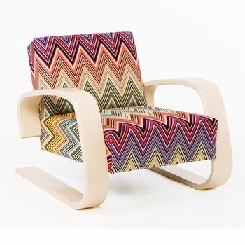 Such a colorful, interesting pattern on a simple, sleek design creates something truly beautiful and one of a kind. Artek Alvar Aalto 400 - Lounge Chair - Your Own Materials