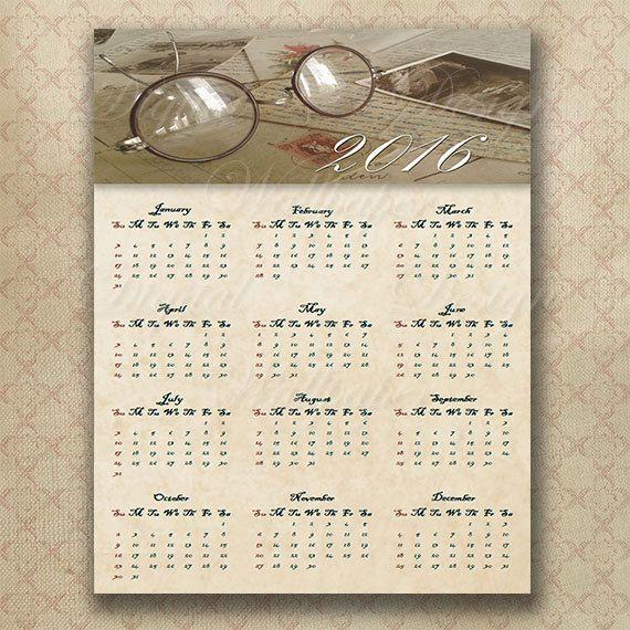 Printable Calendar 2016 for Home decoration,Vintage Calendar 2016 for Instant Download,Wall Calendar,Home Decor,Home Decor Wall Art,DIY,Printable Art,2016 Calendar, by DigitalDesignPaper