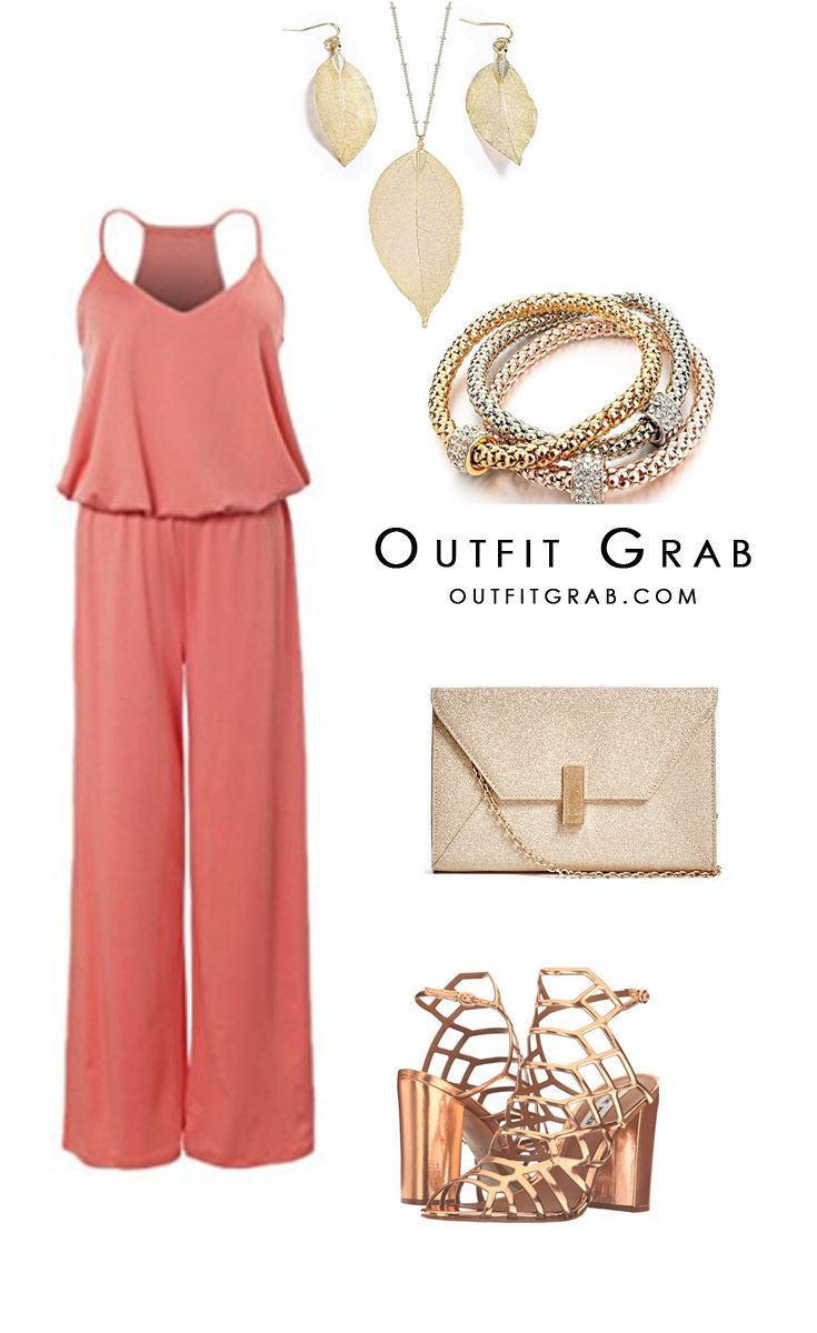 Coral Jumpsuit, rose gold color clutch purse and rose gold color sandal heels. Summer outfit, Spring outfit, rose gold color Necklace, Bracelet, dressy casual, party outfit, celebration outfit, date night outfit, outfit idea, style inspiration, trendy.