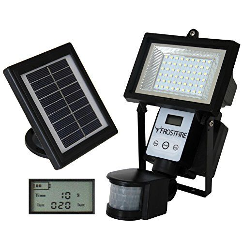 Frostfire Digital 54 LED Ultra Bright Solar Powered Motion Detector Light is a high quality light suitable as a security light or shed/garage light. Solar panel life span: 5 years – LED Life Span – 50,000 hours