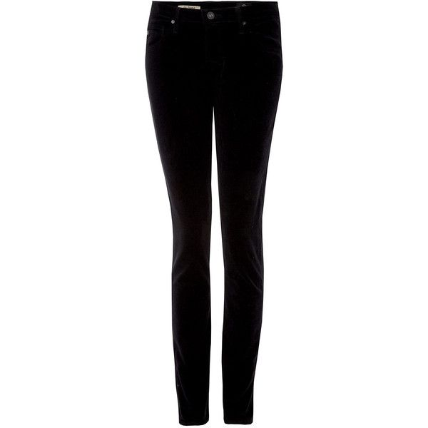 AG Jeans Black Prima Cord Skinny Jeans ($135) ❤ liked on Polyvore featuring jeans, bottoms, stretch jeans, high waisted jeans, super stretch skinny jeans, high rise skinny jeans and super high rise skinny jeans