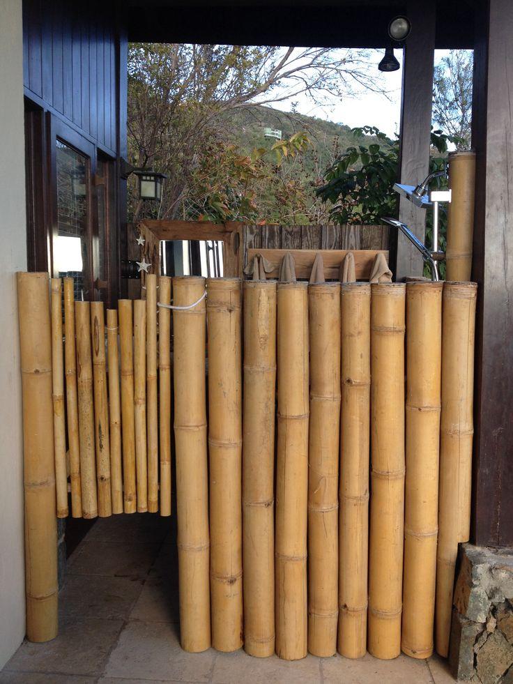Friends built outdoor shower using bamboo
