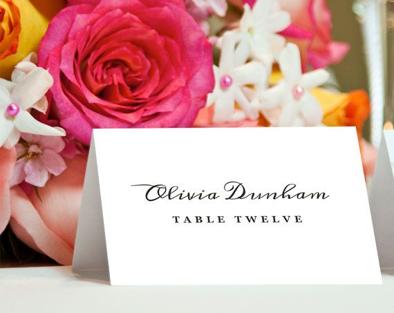 Printable Place Card Template  INSTANT DOWNLOAD  by EZPrintables