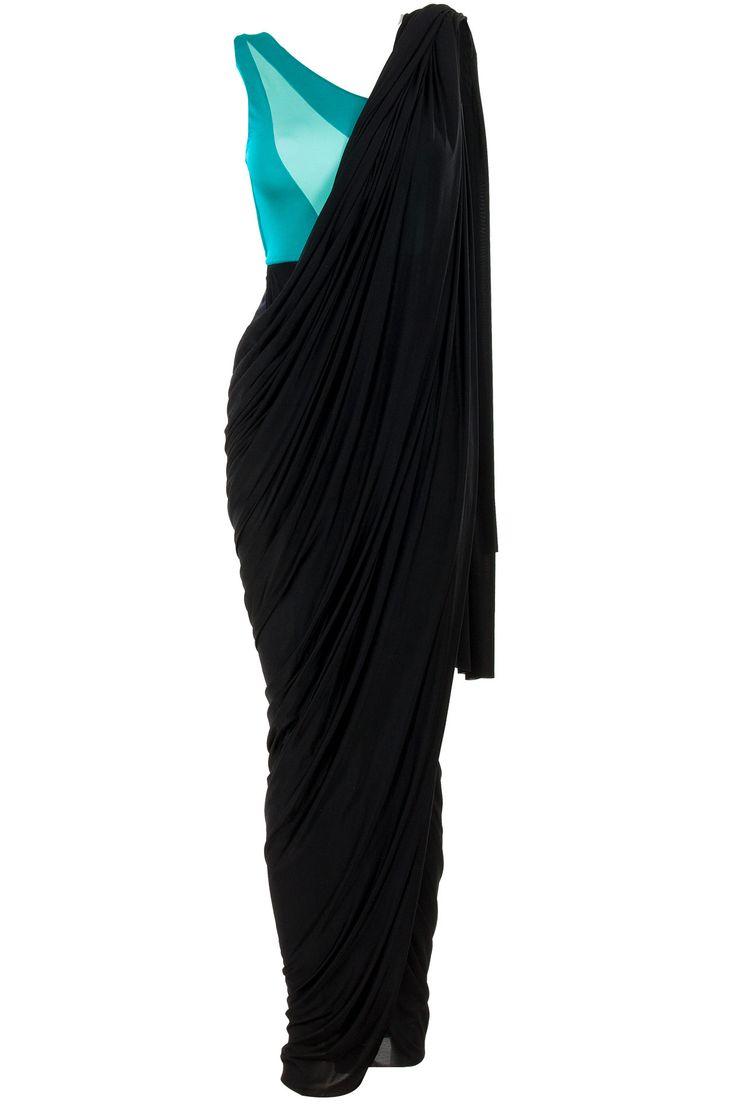 Green and black bikini sari by SHIVAN AND NARRESH.  Shop now at perniaspopupshop.com