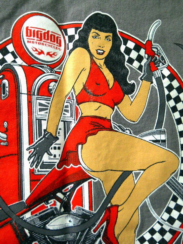 Red Kap Big Dog Mens Gray Large Shirt has an image of a Chopper Motorcycle with a Sexy Pinup Girl Pumping Gas. Manufacturer: Red Kap. Image: Chopper Motorcycle with a Sexy Pinup Girl Pumping Gas. Size: Large. | eBay!