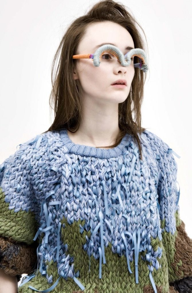 raggy knit by Daphna Laurens - and I love the glasses, too! wool manipulation- adding plastic to wool to create a mixed media piece. inspiring for my next project