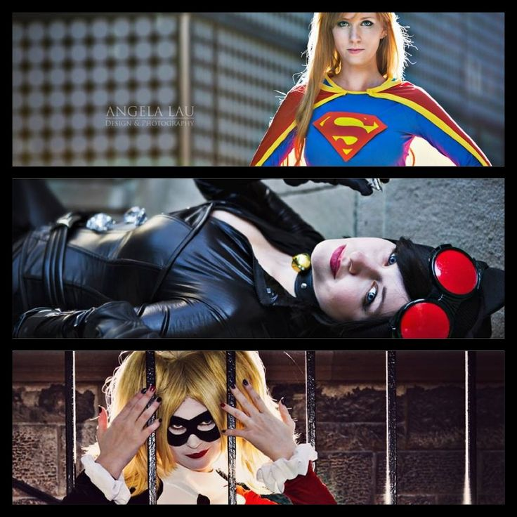 The Geekettes first photoshoot together. Stay tuned for more pics. | Supergirl Harley Quinn Catwoman DC Comics Batman Superman