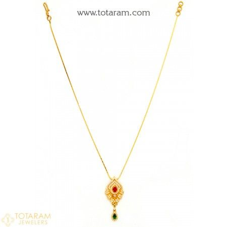 22K Gold Necklace for Women with Cz - 235-GN2185 - Buy this Latest Indian Gold Jewelry Design in 10.600 Grams for a low price of  $608.60