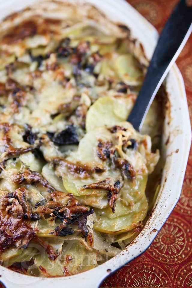 This lightened up version of Potato Turnip Mushroom Gratin is perfect for the Holiday Season!