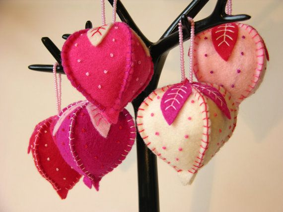 Eco-Friendly Felt Hanging Ornaments, Set of 5 in Red, Pink and Cream - STRAWBERRY SHORTCAKE - Made From Recycled And Second-Hand Materials