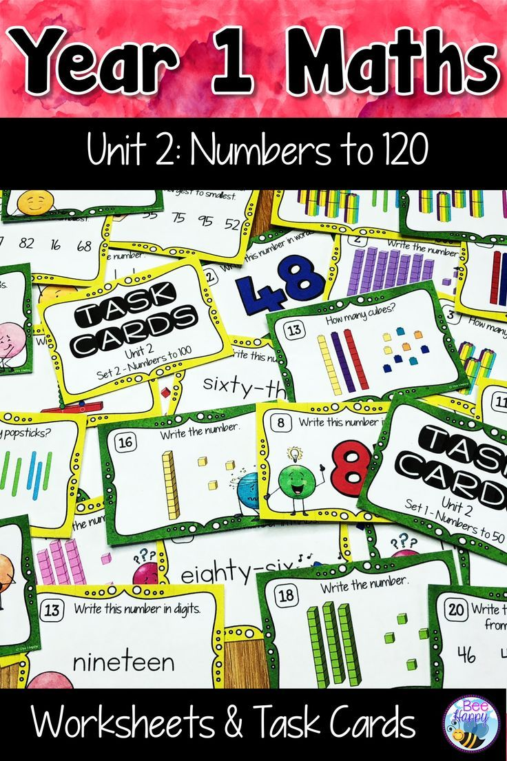 Year 1 Unit 2 Numbers To 120 Australian Curriculum Aligned This Unit With Worksheets And Task Cards Supports Australian Curriculum Task Cards Math Numbers Australian grade maths worksheets