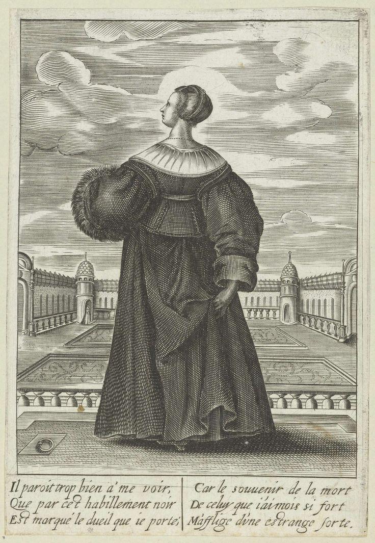 Isaac Briot | Franse dame in rouwkleding, ca. 1630, Isaac Briot, Jean de Saint-Igny, Anonymous, 1630 - 1640 | Franse dame met kort kapsel in tweedelig rouwkostuum, op de rug gezien. Het kostuum bestaat uit een kort lijfje met lange schoot en platte schouderkleppen, wijde cilindervormige mouwen met omslag en een rok. Een plat liggende kraag om de hals. In haar linkerhand houdt ze een mof van bont, met haar rechterhand tilt ze de rok van achteren op. Kasteel en kasteeltuin op de achtergrond…