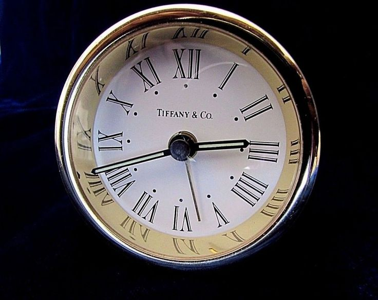 Tiffany & Co. Round Brass Alarm Clock with Roman Numeral Numbers Very Nice