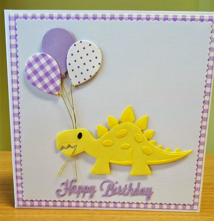 Handmade Birthday Card - Marianne Collectables Dinosaur Die (2). For more of my cards please visit the CraftyCardStudio on Etsy.com.