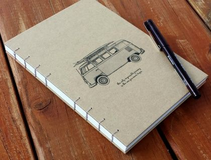 LINED KRAFT JOURNAL, COMBI ILLUSTRATION WITH QUOTE, COPTIC STITCH