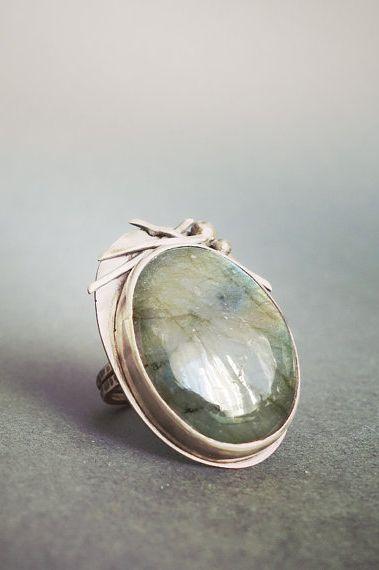 Labradorite Oxidized Sterling Silver Ring