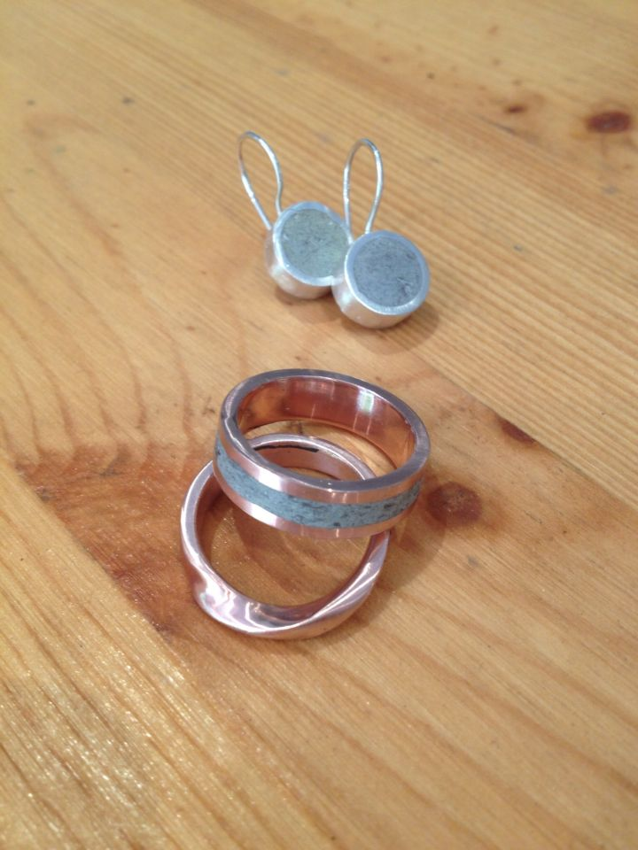 Rose Gold and Concrete Wedding Ring, Rise Gold Twist Ring, Sterling concrete earrings. www.organicmetslgallery.com