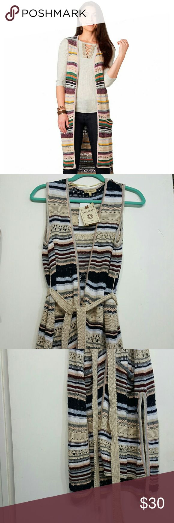 LONG CROCHET STRIPED VEST Democracy Long Vest is good for layering. Has more of the earth tone color, Democracy Jackets & Coats Vests