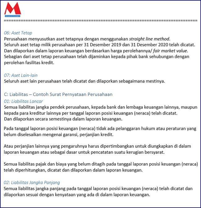 Contoh Surat Pernyataan Perusahaan Indonesia Dan Inggris Surat Laporan Keuangan Keuangan