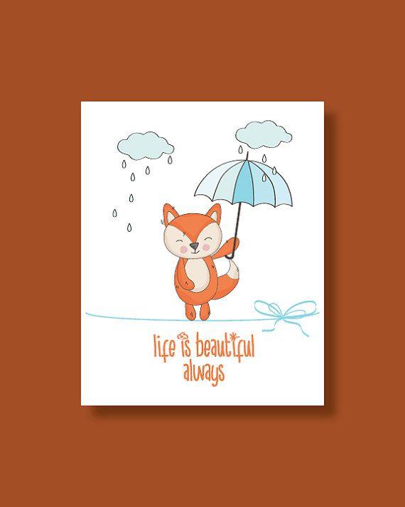 Fox Nursery Art Print  Baby Fox Life is by HappyLittleBeans