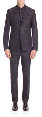 Versace Collection Wool Jacquard Camo Suit
