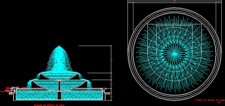 Ornamental fountain, top view and elevation (dwgAutocad drawing)