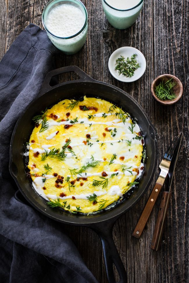 Flat Omelet Recipe with Yogurt, Hot Sauce, and Herbs from Yogurt Culture by Cheryl Sternman Rule | edibleperspective.com