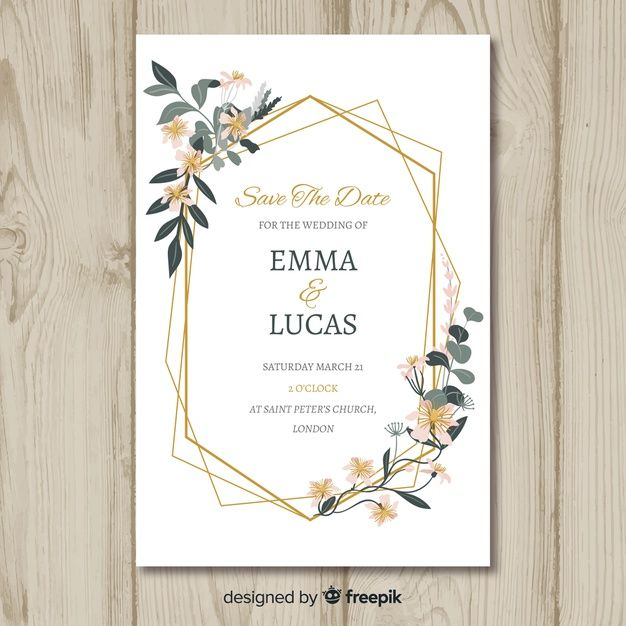 Floral Wedding Invitation Card Template Free Vector Free