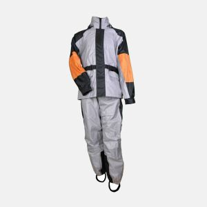 Grey Orange Black Mens Rain Suit - Biker Rain Gear