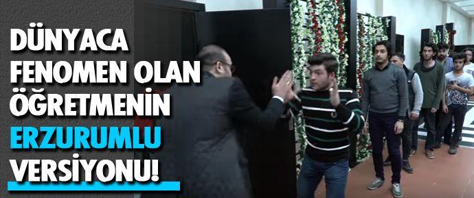 Her öğrencisi ile ayrı selamlaşan öğretmenin yerli versiyonu Erzurumlu Emrah Çılgı sosyal medyada fenomen oldu.